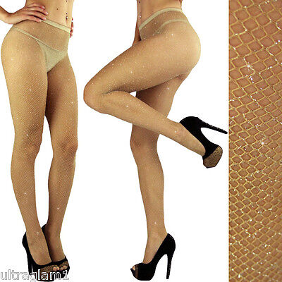 NUDE-Silver GLITTER FISHNET PANTYHOSE/TIGHTS/CROSSDRESSER/DRAG QUEEN/ Beige/Tan - Glitter Pantyhose