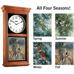 4 Seasons Birds Regulator Oak Wall Clock