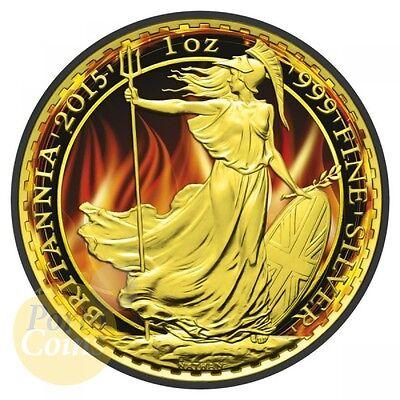 2015 1Oz  2 Gbp Uk Silver Burning Britannia Ruthenium Gild Coin Box   Coa Brexit