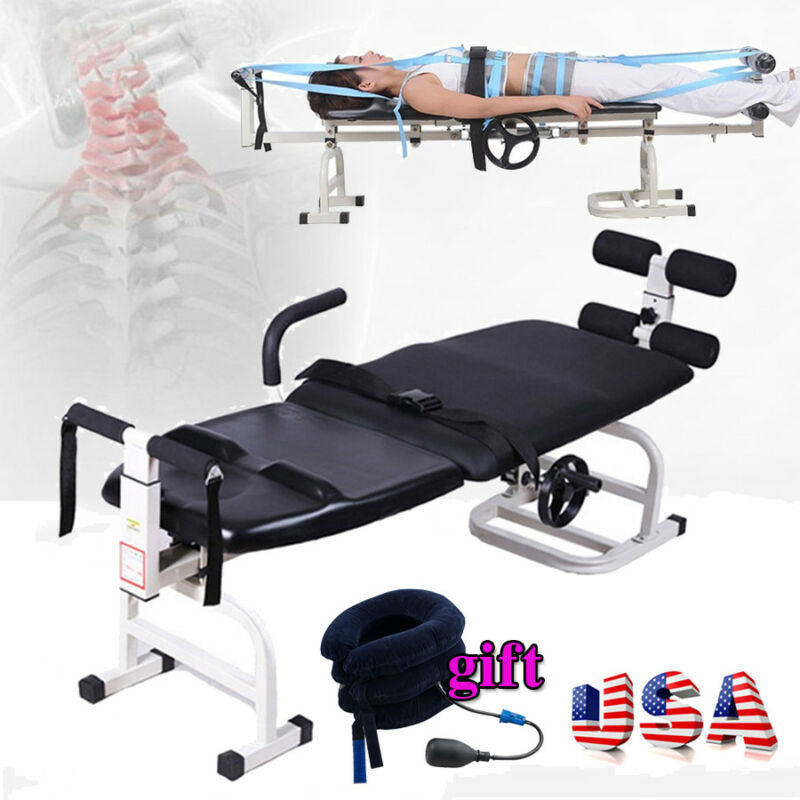 Multifunction Therapy Massage Bed Cervical Spine Lumbar Traction Stretching New