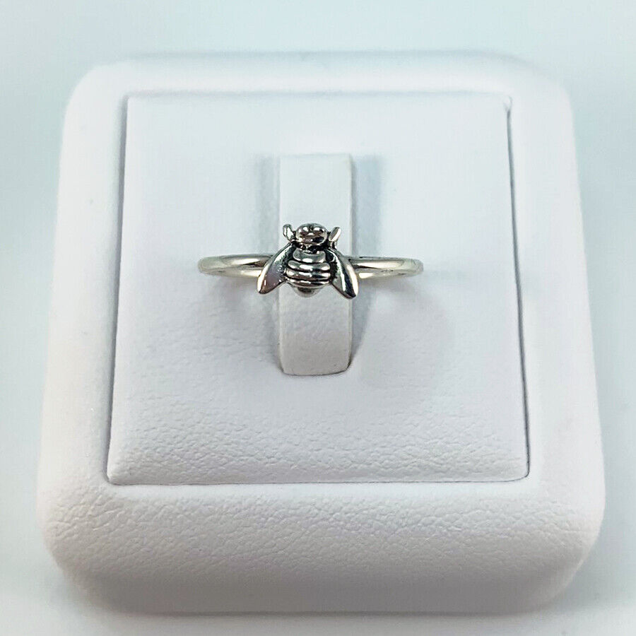 Women's 925 Silver Tiny Bee Ring Stacking Rings Sterling Silver Bee Ring cute