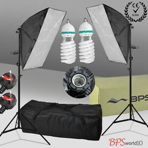 1250W Photo Studio Softbox Continuous Lighting Video Light Stand Kit 50x70cm UK