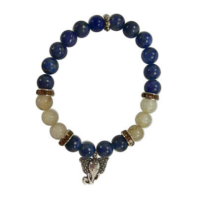 Lapis & Rutilated Quartz 8mm Elastic Stretch Power Bracelet & Ganesha Elephant