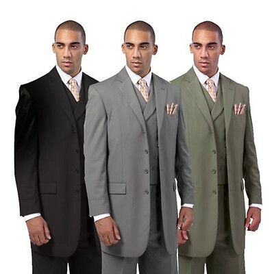 - Men's Wool Feel suit Jacket With Fancy Vest four button  by Milano Moda 5263V