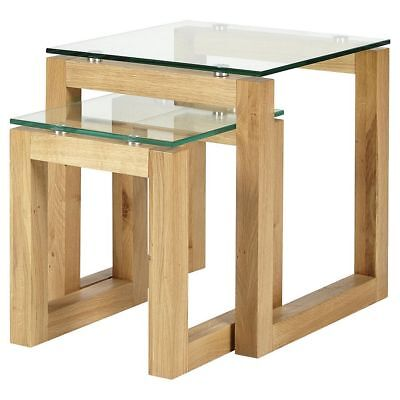 NEW Tesco Stanbury Glass Top Nest of 2 Tables - (Solid Oak)