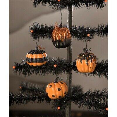 Bethany Lowe Happy Hall Pumpkin Ornaments ~~ Set of 4 ~~ FREE SHIPPING ~~
