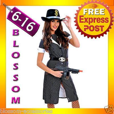 J64 Ladies 1920s Chicago Mafia Gangster Moll Fancy Dress Halloween Costume + Hat ()