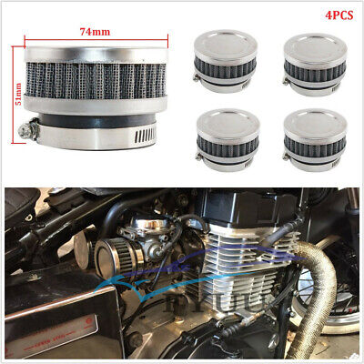 4X 48 52MM STAINLESS STEELRUBBER MOTORCYCLE AIR FILTER CLEANER FOR HO