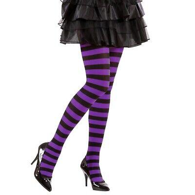 LILA RINGEL STRUMPFHOSE # Halloween Gestreifte Damen Hexen Kostüm Party XL 01275 ()