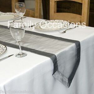 ORGANZA WITH SATIN EDGED TABLE RUNNER  265 cm long x 33cm wide