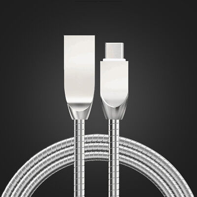 Zinc Alloy Stainless Steel Charging Cable 2 4A Fast Charger Data Cord Universal