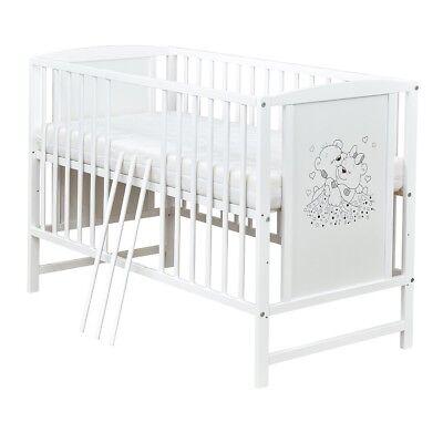 Babybett Gitterbett Kinderbett 120x60 Weiß Bärchen Motiv mit Matratze