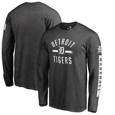 Detroit Tigers Long Sleeve (Detroit Tigers D Logo Long Sleeve T - Shirt MLB Baseball Verlander Heathered  )