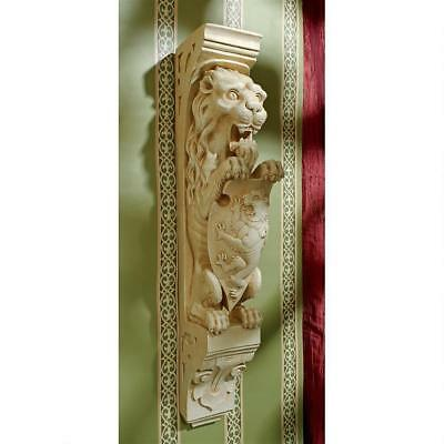 Medieval Gothic Antique Replica Lion and Shield Royal Beast Wall Sculpture Decor (Lion And Shield)