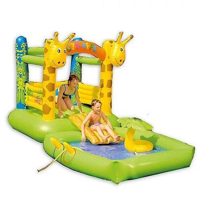 Hüpfburg Giraffe Spiel-Pool für Kinder Planschbecken mit Rutsche und Zubehör