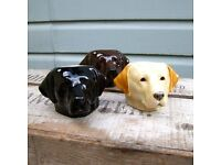 QUAIL Labrador dog egg cup, available in golden or cholocate