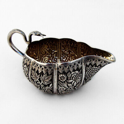 Indian Kutch Silver Creamer Repousse Floral Snake Handle 1890