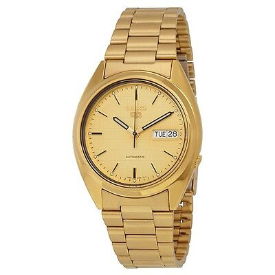 SEIKO 5 Automatic Men SNXL72 Gold Tone Watch  $225 Authentic Box Brand New