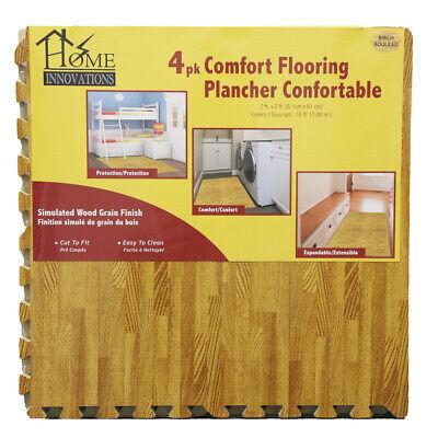 Home Innovations Anti Fatigue Interlocking Foam Tile Mats Light Wood (24 Pack)