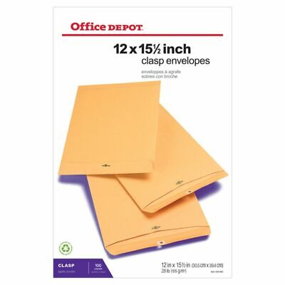 """Office Depot® Brand Clasp Envelopes, 12"""" x 15 1/2"""", Brown,"""