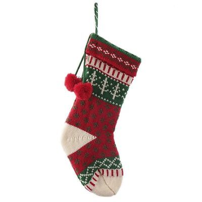 FAIR ISLE KNIT CHRISTMAS STOCKING RED/GREEN/WHITE 19
