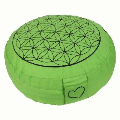 Meditationskissen Blume des Lebens grün Yogakissen Bio-Dinkelspelz Sitzhöhe 10cm