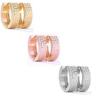 Diamond Cut 14k Rose - Technibond Diamond Cut Huggie Hoop Earrings 14K Yellow Rose White Clad Silver