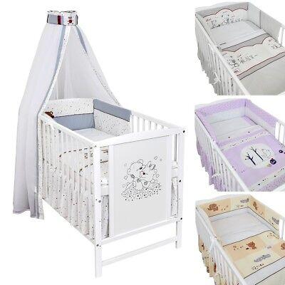 Babybett Kinderbett Gitterbett 120x60 Weiß Bärchen Bettwäsche Bettset komplett