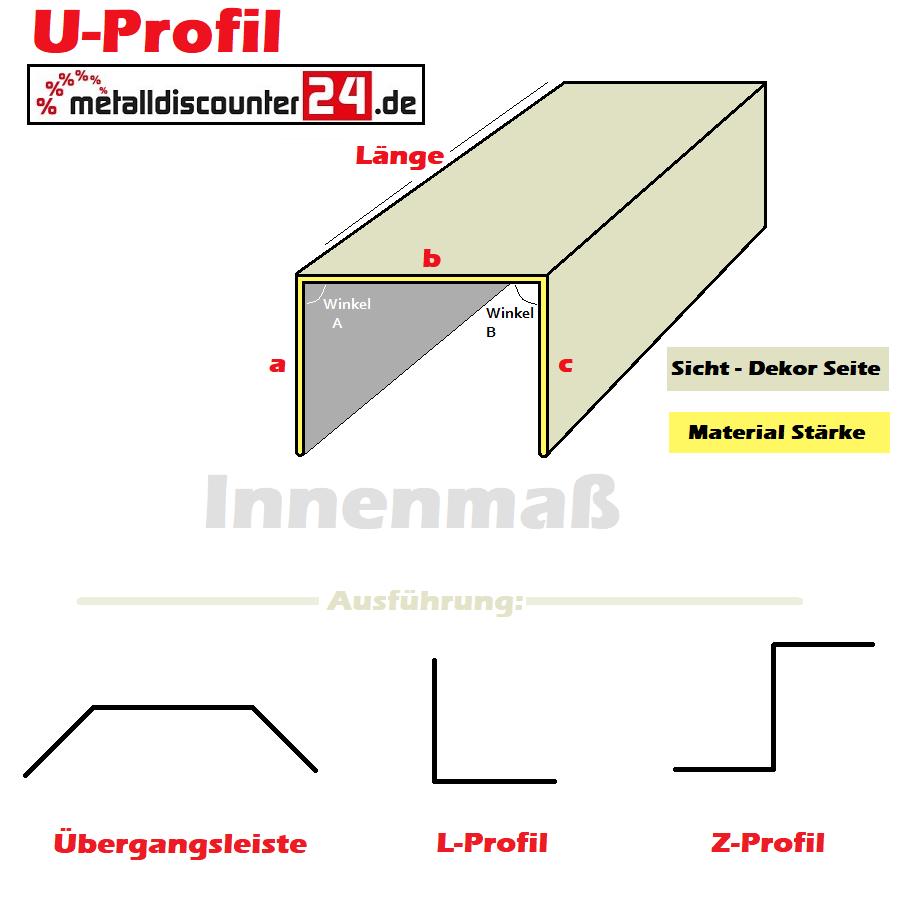 U-Profil Edelstahl V2A K240 Abdeckung Profile Abdeckschiene U Schiene Profil