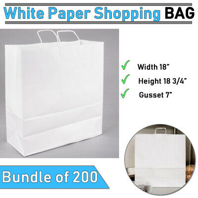 Bundle Of 200 18 X 7 X 18 34  White Paper Shopping Bag With Handles