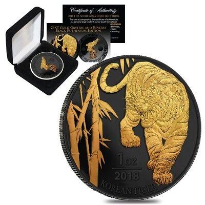 Sale Price   2018 1 Oz South Korea Silver Tiger Medal Black Ruthenium Edition