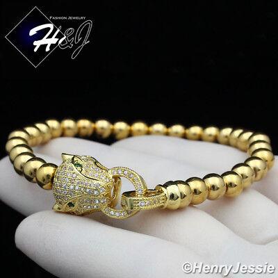 Women Fashion Leopard Head Gold Beads Adjustable Bracelet*GB98