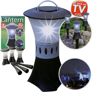 3 x Garden Lanterns LED Lights Lamp Post Indoor Outdoor