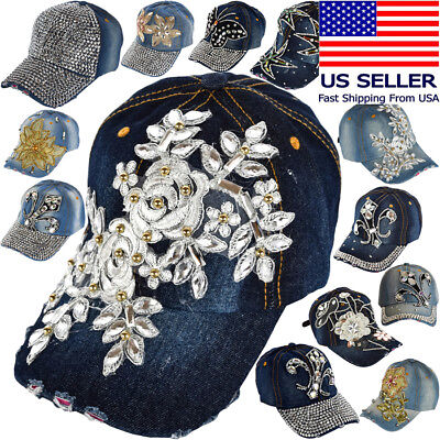 Sparkly Baseball Hats (Flowers Denim Hats Rhinestone Studded Sparkly Bling Baseball Cap Women)