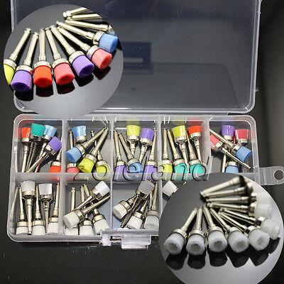 50 Pcs Mixed Color Nylon Latch Flat Polishing Polisher Dental Prophy Brushes