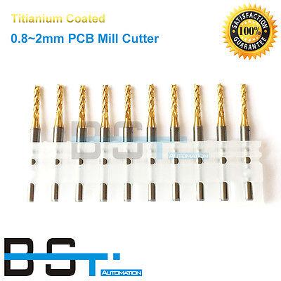 Titanium Coat Carbide Pcb End Mill 0.8mm 1mm 1.2mm 1.6mm 2mm Pcb Milling Cutter