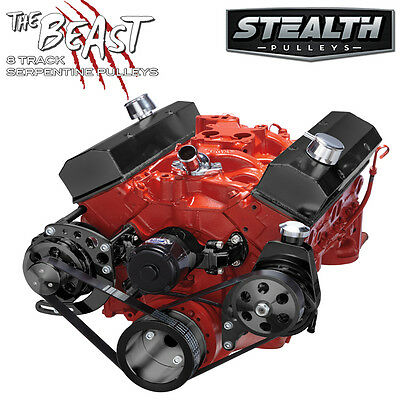Black Small Block Chevy Serpentine Conversion Kit - Power Steering, Electric WP