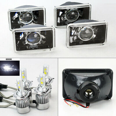 "FOUR 4x6"" Glass Projector Black Chrome Headlights w/ 6000K 36W LED H4 Bulbs GMC"