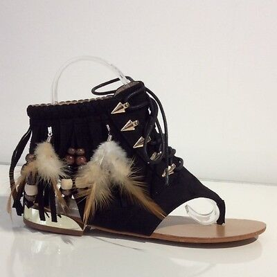 SIVE SOMMER SCHUHE HIPPIE FEDER FRANSEN PERLEN SCHWARZ 36-41 (Hippie Schuhe)