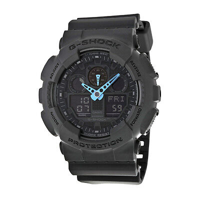 Casio G Shock Grey And Blue Dial Resin Mens Watch Ga100c 8Acr