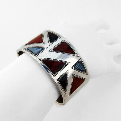 Large Triangle Stone Inlay Cuff Bracelet Sterling Silver England 1933
