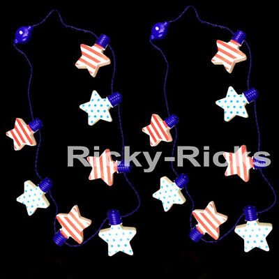 2 Flashing Patriotic Necklaces Light Up 4th of July Glow Party Parade Favors - Light Up Necklaces