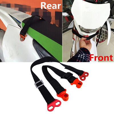 Adjustable Motorcycle Front+Rear Tow Rope Emergency Pull Strap Belt Universal 2x