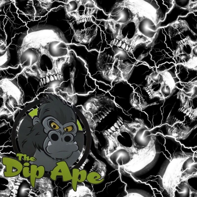 HYDROGRAPHIC FILM HYDRO SKULL SHOCK LIGHTNING WATER TRANSFER DIP APE