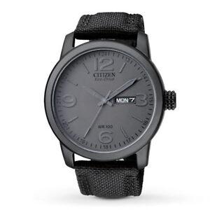 Citizen Eco-Drive Black Dial Stainless Steel Canvas Strap Men's Watch BM8475-00F