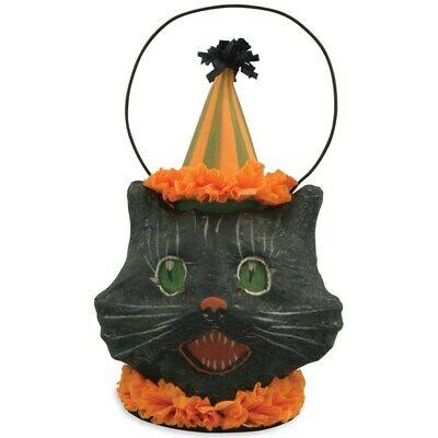Bethany Lowe Designs Sassy Black Cat Mini Bucket Halloween Figurine