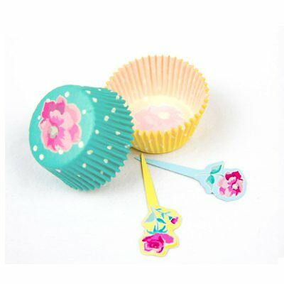 Fanci Baking 24ct Paper Cupcake Liners / Cases & Picks - Fancy Floral