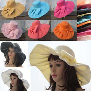Womens-Kentucky-Derby-Wide-Brim-Wedding-Church-Sea-Beach-Sun-Hat-Bow-Linen-A047