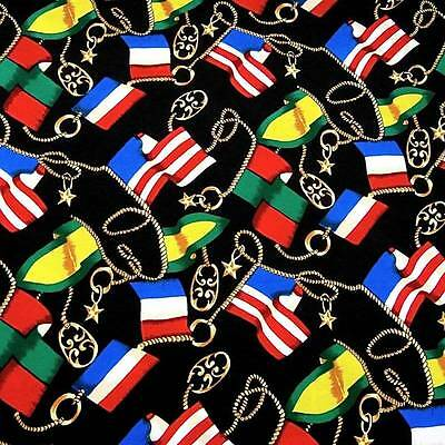 Bright Nautical Theme, Boat Flags on Black, 1993 Cotton Rayon Fabric, BTY
