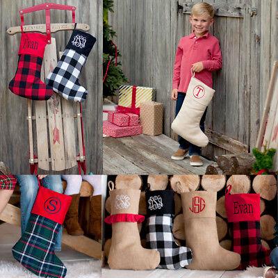 PERSONALIZED COUNTRY CABIN CHRISTMAS STOCKING: BUFFALO PLAID CHECKS JUTE BURLAP (Country Christmas Stockings)
